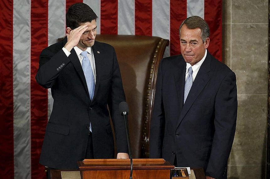 Mr John Boehner came into the job of Speaker of the House of Representatives as a seasoned leader who tried unsuccessfully to appease Tea Party members. Mr Paul Ryan (far left), the youngest Speaker since the 1860s, represents a new generation.