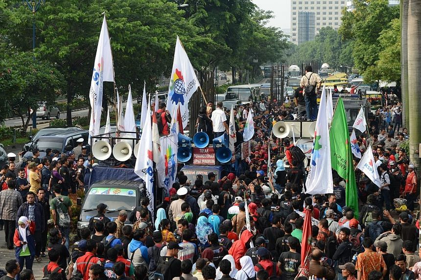 Demonstrators outside the Corruption Eradication Commission in January. In addition to the location restrictions, protesters also cannot use loudspeakers which go above 60 decibels.