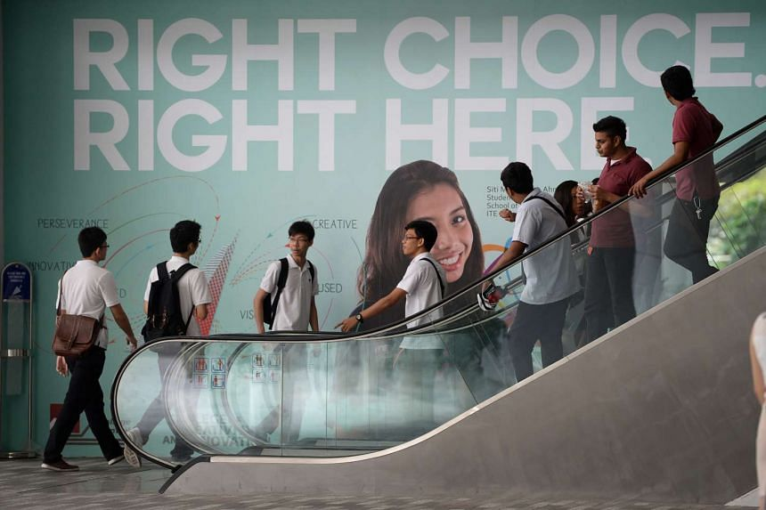 Students at ITE College Central in Ang Mo Kio.