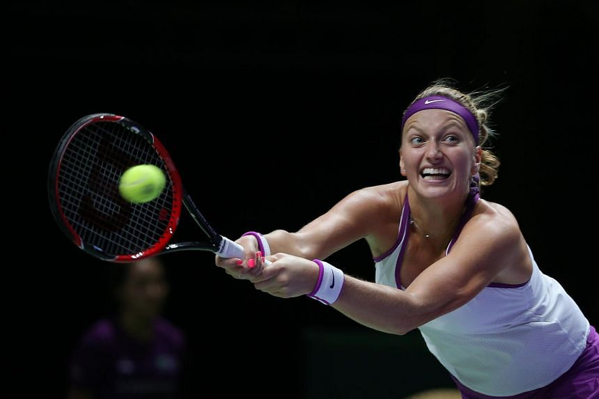 Petra Kvitova in action during the WTA Finals Singapore.