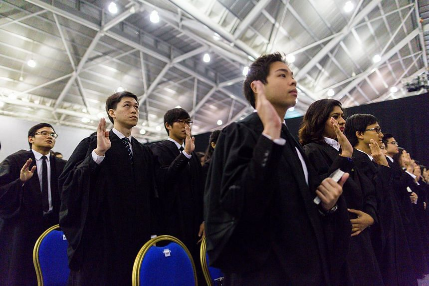 Some of the 535 lawyers called to the Singapore Bar at the mass call held at the Singapore Expo on Aug 22, 2015.
