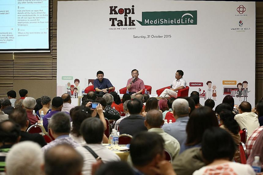 (From left) Minister of State for Health Chee Hong Tat, Health Minister Gan Kim Yong and moderator Jimmy Lim at the dialogue with grassroots leaders about MediShield Life yesterday at The Grassroots Club.