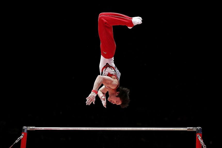Kohei Uchimura was confident he had won a record sixth all-around title even before the judges awarded 15.100 points for his solid high bar routine.