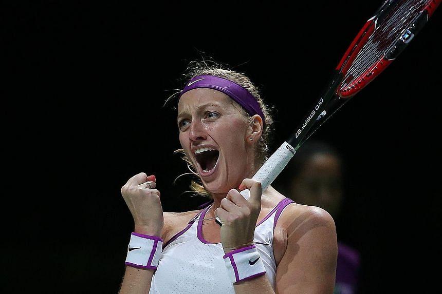Petra Kvitova, the 2011 WTA Finals champion, shrieking with joy after beating Maria Sharapova.