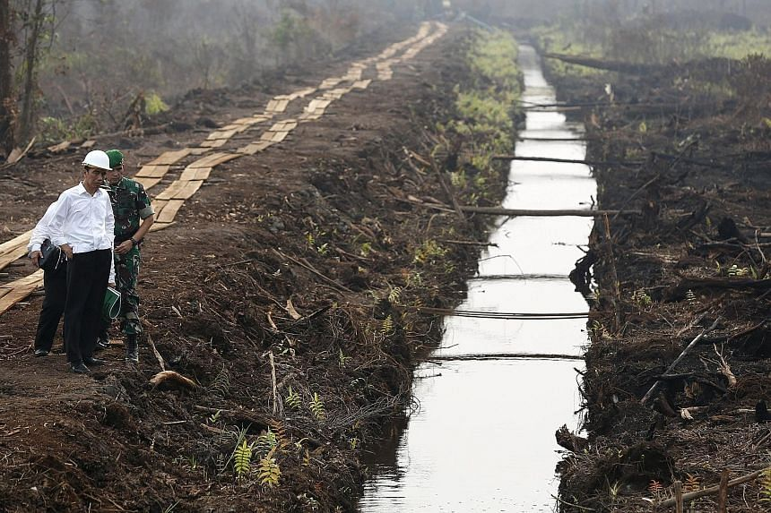 Indonesian President Joko Widodo inspecting a newly built canal in Pulang Pisau yesterday. He had ordered such canals to be built to prevent peatland fires from spreading.