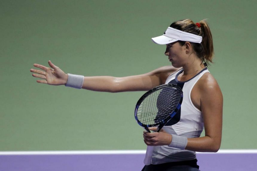 Garbine Muguruza during her WTA Finals Singapore semi final match between Agnieszka Radwanska.