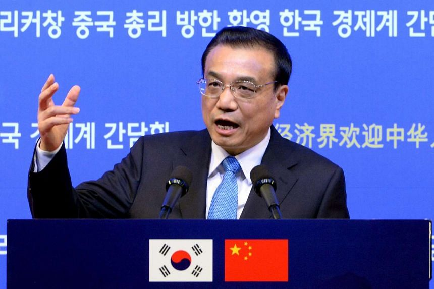Chinese Premier Li Keqiang speaking during a luncheon hosted by economic organisations, at a hotel in Seoul, South Korea, on Nov 1, 2015.