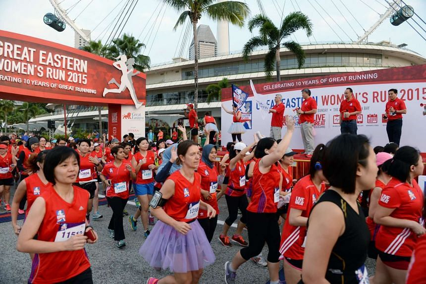 Participants starting off on the 10km run at the Great Eastern Women's Run on Nov 1, 2015.