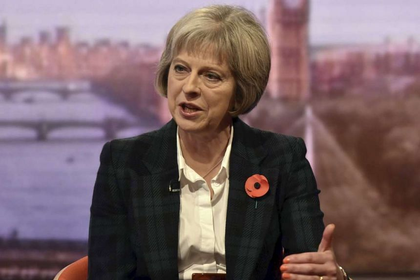 British Home Secretary Theresa May speaking about Britain's new Internet spying laws on the BBC, on Nov 1, 2015.