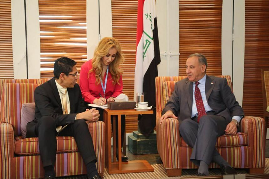 Senior Minister of State for Defence and Foreign Affairs Mohamad Maliki Bin Osman meeting the Minister of Defence of Iraq, His Excellency Khaled Al Obeidi, on the sidelines of the Manama Dialogue.