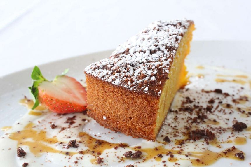 Gattopardo's set lunch includes baked limoncello cake (above) for dessert.