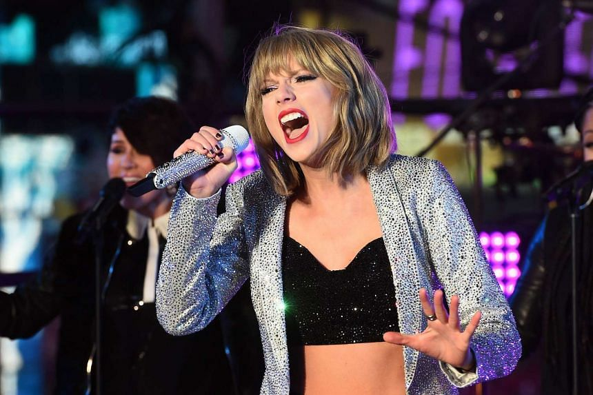 Taylor Swift performs during New Year's Eve celebrations at the Times Square in New York.