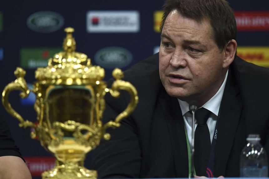 New Zealand coach Steve Hansen speaking at a press conference on Oct 31, 2015.