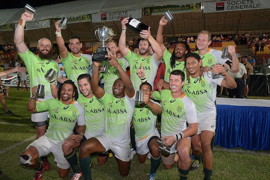 The victorious South Africa Sevens Academy side after their 36-5 demolition of the Penguins at the Padang yesterday.