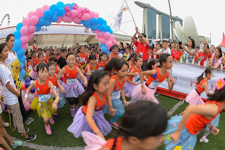 Clad in tutu skirts, girls aged between seven and nine took part in the 100m Princess Dash, a new category at the Great Eastern Women's Run yesterday. They were flagged off by Dr Khoo Kah Siang, Great Eastern's chief executive officer for Singapore.