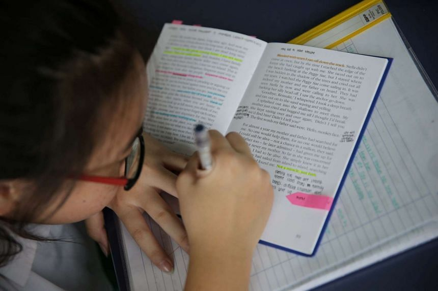 Above, a student highlighting text from Kensuke's Kingdom.