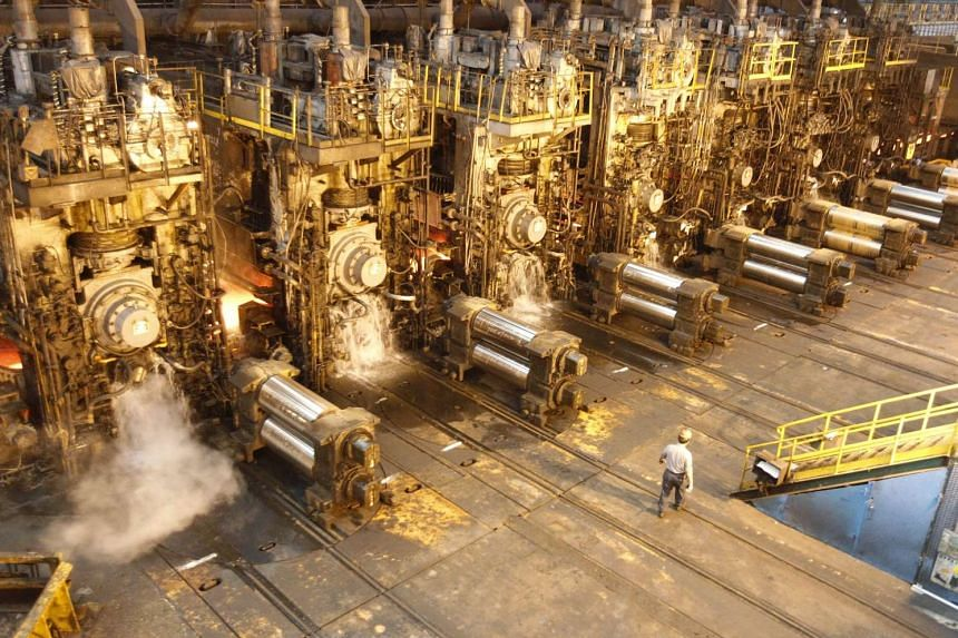 The interior of a steel production factory in China.