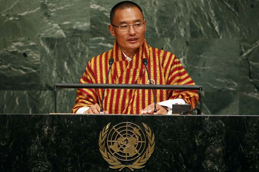 Bhutan Prime Minister Tshering Tobgay speaking at the UN Headquarters on Sept 25, 2015.