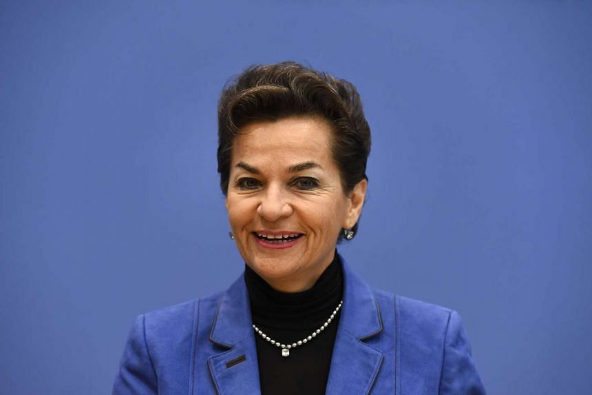 UN climate chief Christiana Figueres addresses a news conference on the aggregation report of the national climate action plans in Berlin on Oct 30, 2015.