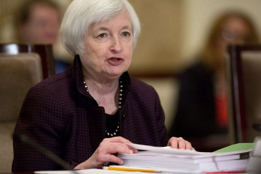 Janet Yellen, chair of the US Federal Reserve, speaks during an open meeting.