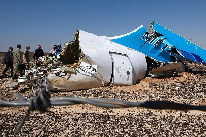 Russian Emergency Situations Minister Vladimir Puchkov (fourth from left) near a piece of wreckage from the Russian MetroJet Airbus A321.