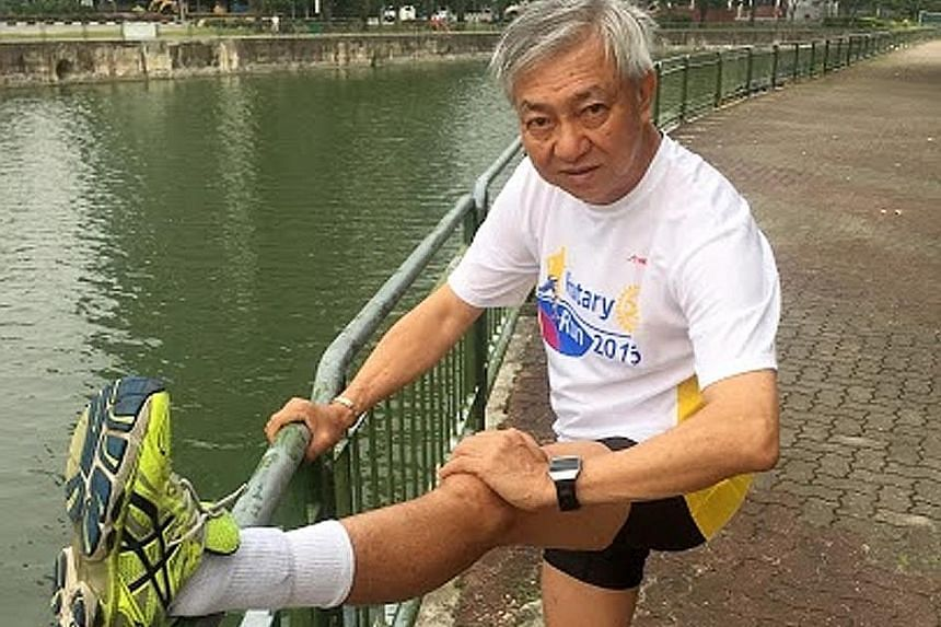Mr Henry Tan wakes up very early two to three times a week to run at 6am. He enjoys spending time with his family and playing with his granddaughter.