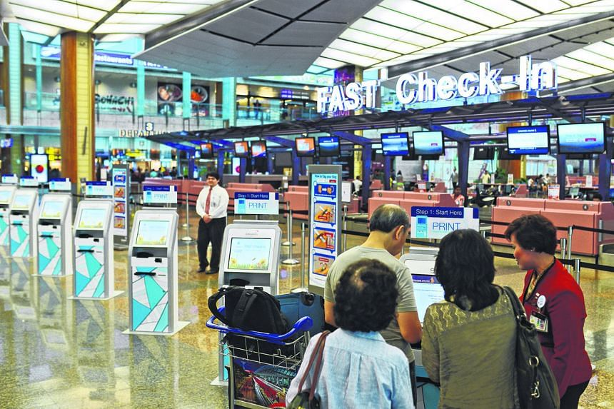 Self-service check-in kiosks are already common at a growing number of airports, including Changi (left). Other IT initiatives that airports are looking at include ground sensors and beacons - to keep travellers informed via their mobile phones and o