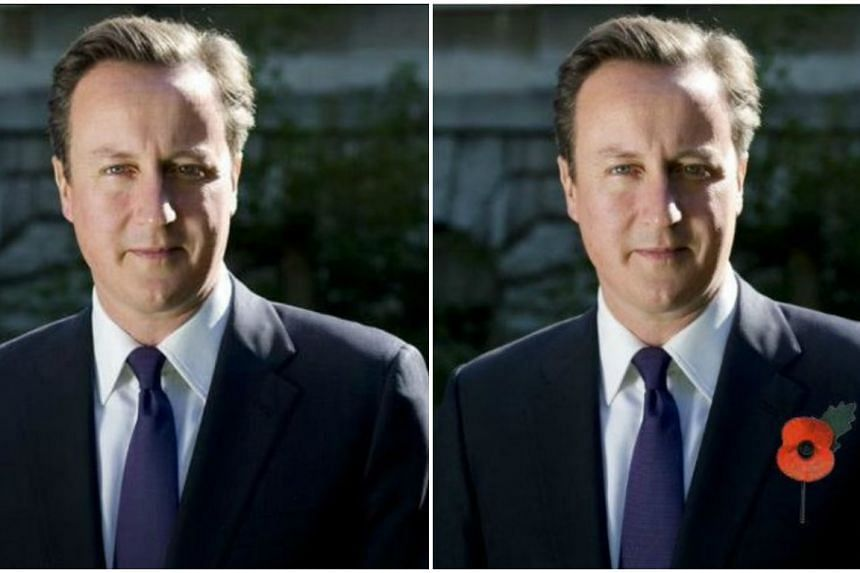 The official 10 Downing Street Facebook account on Monday, is said to have photoshopped a red poppy (right) to an identical profile picture (left).