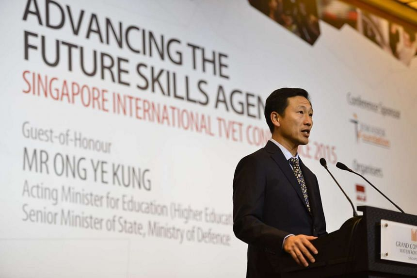 Acting Minister for Education Ong Ye Kung speaking at the Singapore International TVET Conference on Nov 3, 2015.