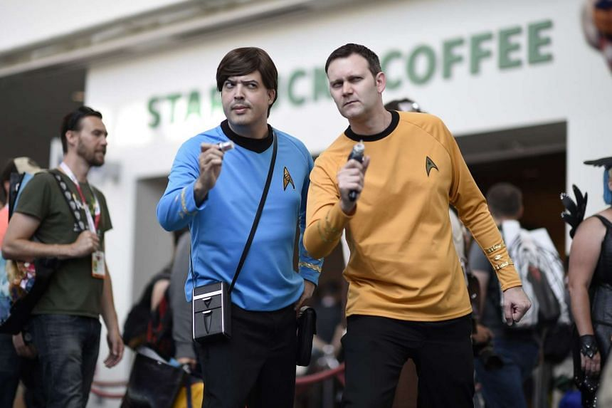 Star Trek fans posing outside the San Diego Convention Center at Comic Con International 2015 in San Diego in July.