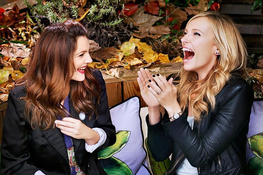 Drew Barrymore (left) and Toni Collette in cancer comedy Miss You Already.