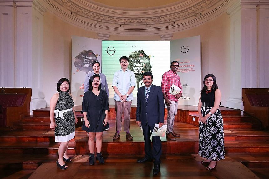 Winners of the National Arts Council's Golden Point Award for short stories and poetry in English, Chinese, Malay and Tamil - (front row, from left) Ms Chen Yu Yan, Ms He Yingshu, Mr Natarajan Saravanan and Ms Teo Yi Han; (back row, from left) Mr Moh