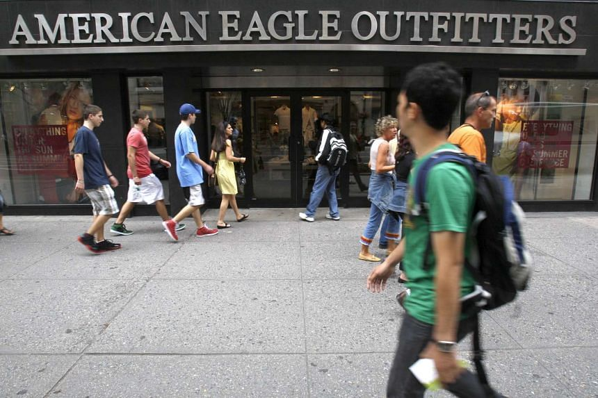 Pedestrians walking past an American Eagle Outfitters store in New York in 2009.