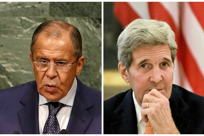 Lavrov (left) and Kerry discussed ways to end the Syria crisis.