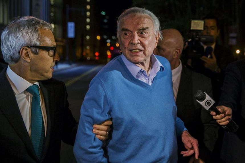 Former Brazilian Football Confederation president Jose Maria Marin, exits the Eastern District of New York US Courthouse.