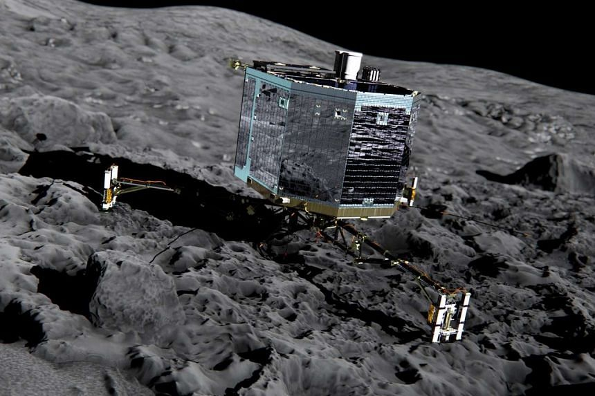An artist's impression of Rosetta's lander Philae on the comet's surface.