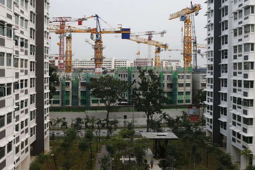 Flats being constructed in Singapore on Sept 7.
