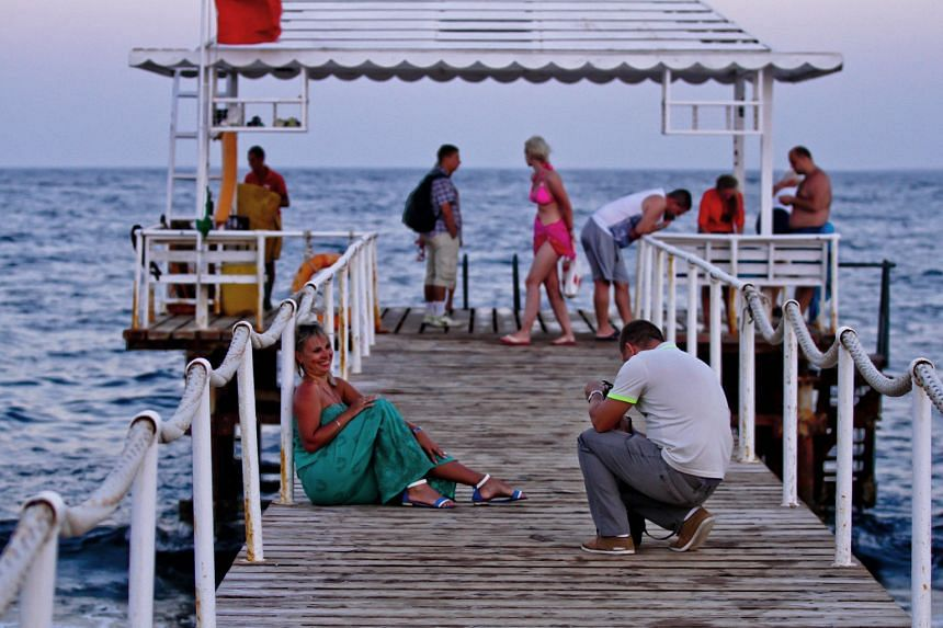 Tourists at the beach in Sharm el-Sheikh on Monday. The resort has been promoted by Egypt as the crown jewel of its tourist industry and a redoubt of security against  militant violence.