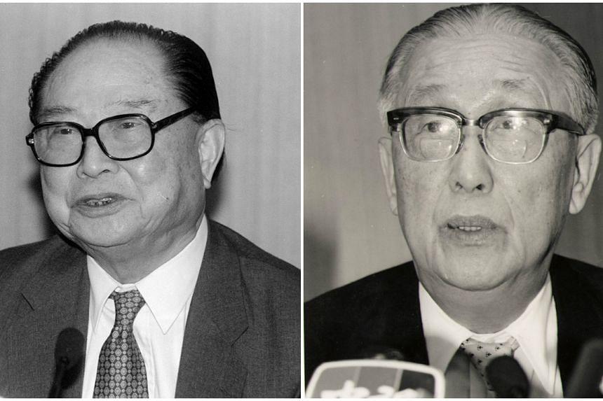 China's Arats chairman Wang Daohan (left) and Taiwan's SEF chief Koo Chen-fu.