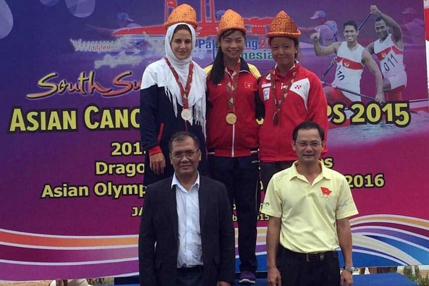 Lim Yuan Yin (right) bagged a bronze medal in the C1500m final at the Asian Canoe Sprint Championships in Palembang on Thursday, Nov 5.