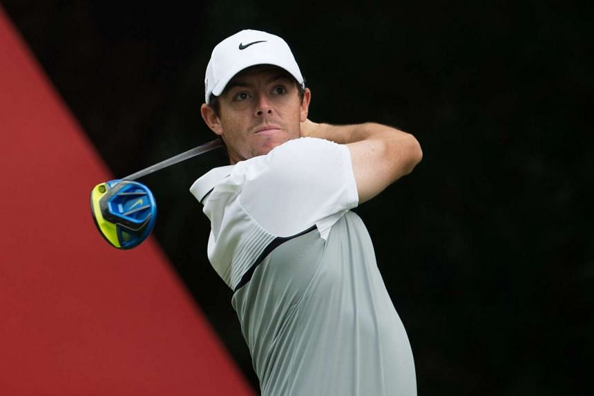 Rory McIlroy tees off during the WGC-HSBC Champions golf tournament in Shanghai on Nov 5, 2015.
