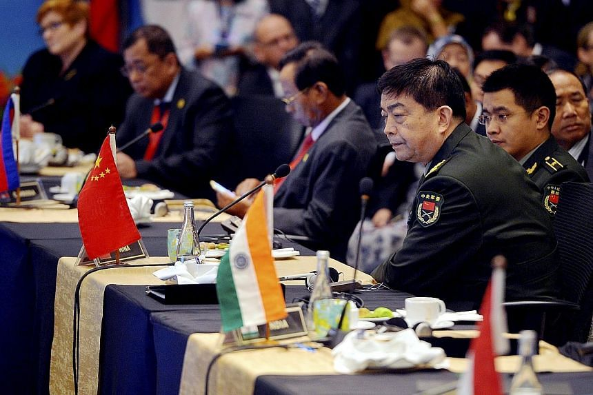 "Chinese Defence Minister Chang Wanquan at the Asean Defence Ministers' Meeting-Plus meet in Subang, Malaysia, yesterday. In response to US activity in the South China Sea, the minister said the issue of freedom of navigation should not be ""hyped up"""