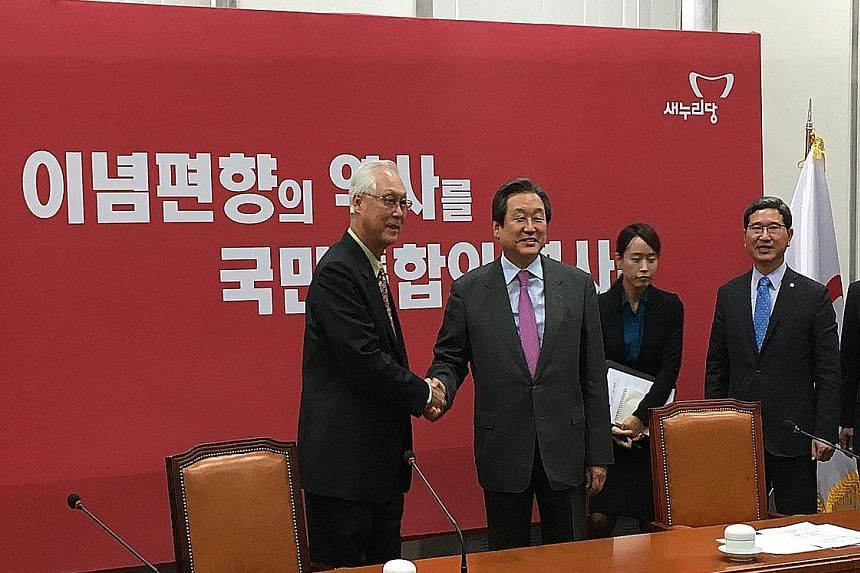 ESM Goh Chok Tong with Saenuri Party chairman Kim Moo Sung yesterday. They agreed Singapore and South Korea can become good partners in growing their respective economies, said local reports.