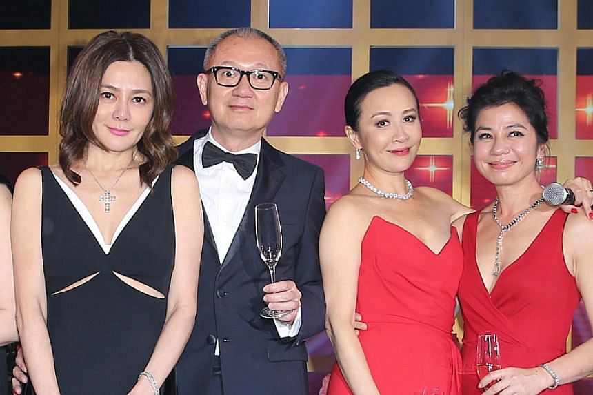Rosamund Kwan (left) and Pierre Chen (second left) attended Carina Lau's birthday party last year with Cherie Chung (right).