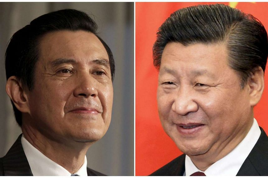 Taiwan President Ma Ying-jeou (left) at the Presidential Office in Taipei in this Jun 1, 2012, file photo and Chinese President Xi Jinping (right) at the Diaoyutai State Guesthouse in Beijing, China Oct 29, 2015, file photo.