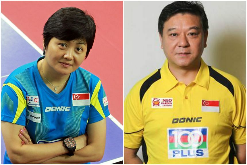 National team women's head coach Jing Junhong (left) has been redeployed as chief coach (youth development), while men's coach Yang Chuanning (right) was sacked. PHOTO: ST FILE, STTA.ORG.SG