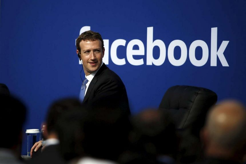 "Facebook chief Mark Zuckerberg on stage during a ""town hall"" with Indian Prime Minister Narendra Modi in September 2015."