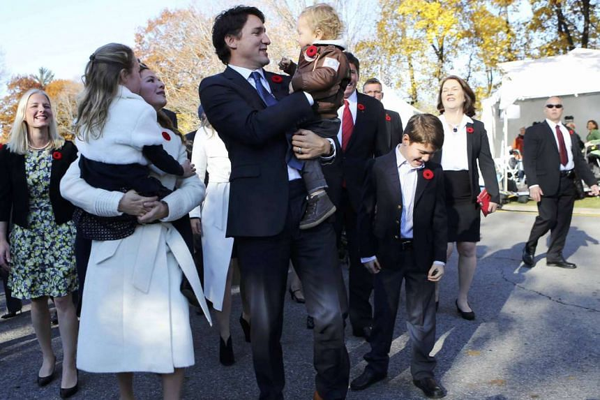 Trudeau, wife Sophie and children Ella Grace, Hadrien (right) and Xavier arrive for the swearing-in.