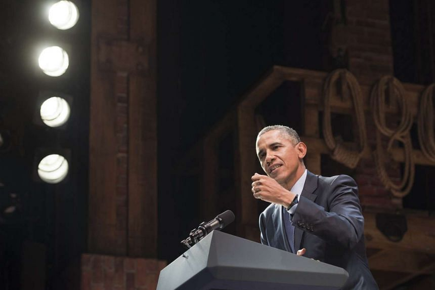 """US President Barack Obama speaks during a Democratic fundraiser following a special performance of the Broadway show """"Hamilton"""" at the Richard Rodgers Theatre in New York, Nov 2, 2015."""