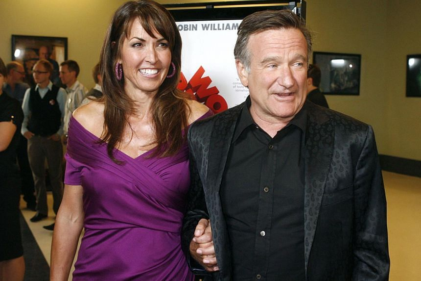 Robin Williams (right) and his wife Susan Williams at the premiere of World's Greatest Dad in Los Angeles, California on Aug 13, 2009.